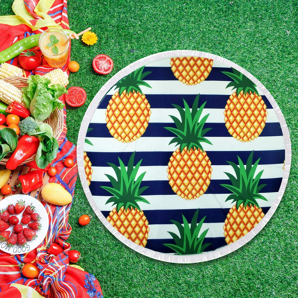btcus4 Round Beach Towel Circle Blanket with Tassels Thick Microfiber Ultra Soft Super Water Absorbent Digital Printing High Color Fastness Multi-Purpose Sunscreen Yoga Mat Camping (120-pineapple)