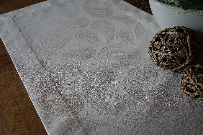 """Baumwollmischung Rund Cremeweiß Festliche Tafel /""""Paisley-Muster/"""" Tischdecke"""