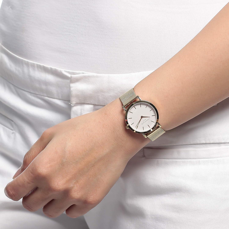 Rosefield Tribeca Reloj para Mujer Analógico de Cuarzo con Brazalete de Acero Inoxidable bañado en Oro TWG-T51: Amazon.es: Relojes