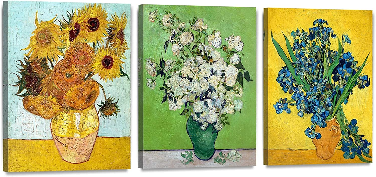 Canvas Wall Art with Van Gogh Flower Series(Triptych)- Oil Painting Reproduction in Set of 3 | Canvas Prints Wall Art for Home Decor , Ready to Hang - 12