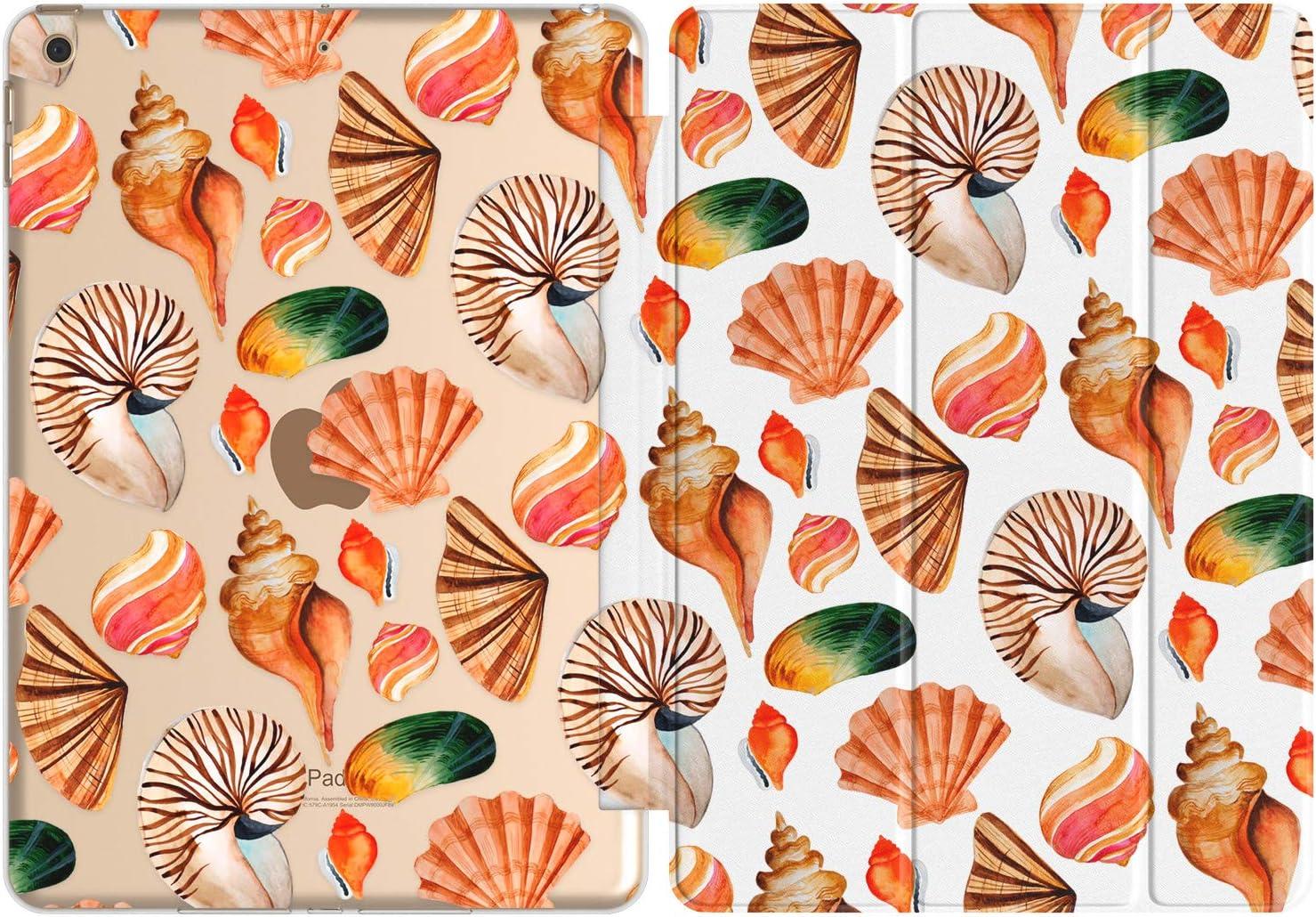 Vonna Case Replacement for Apple iPad Air 4th Gen 2020 12.9 Pro 10.2 8th 11 10.5 9.7 Mini 5/4/3/2/1 Funny Ocean Shore Cute Slim Stand Beach Design Closure Print Fish Magnetic Pattern Seashell vm296