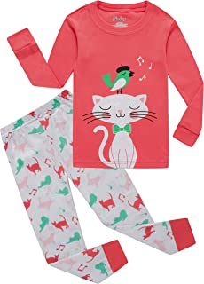 little girls cat pajamas christmas children sleepwear toddler kids long pants set