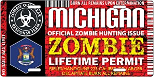 Michigan ZOMBIE HUNTING Hunter Permit License Plate Vintage Design, Car SUV Tag (Made of Metal)