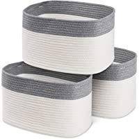 """100% Cotton Rope Basket Set of 3 – 15x10x9"""" Coiled Rope Basket with Handles which Keeps Shape – Grey & White Woven…"""