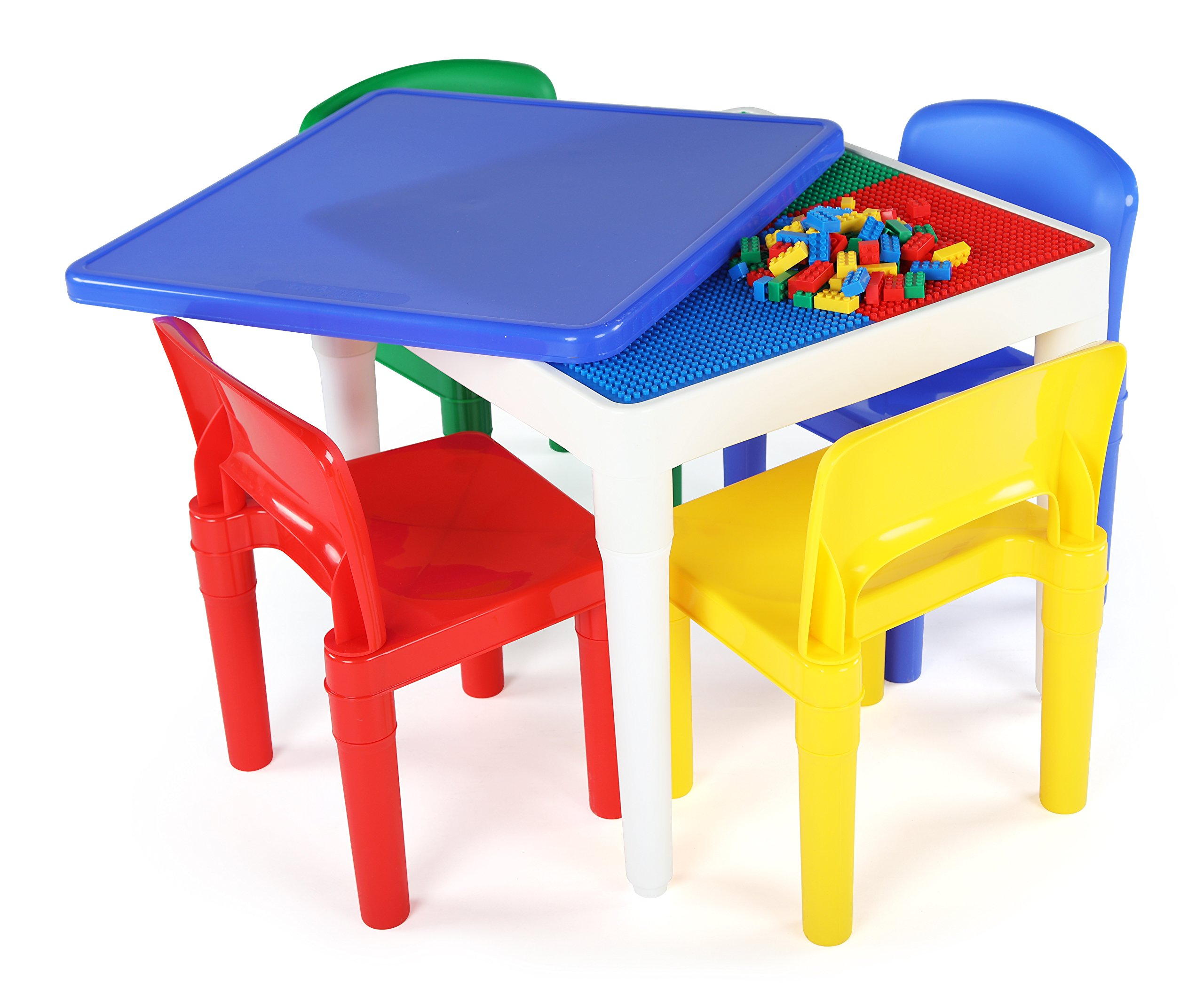 Tot Tutors 2-in-1 Kids Plastic Activity Table and Building Surface with 4 Chairs, 17'' Height, Primary by Tot Tutors
