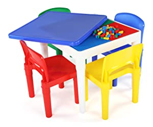 """Tot Tutors CT794 2-in-1 Kids Plastic Activity Table and Building Surface with 4 Chairs, 17"""" Height, Primary"""