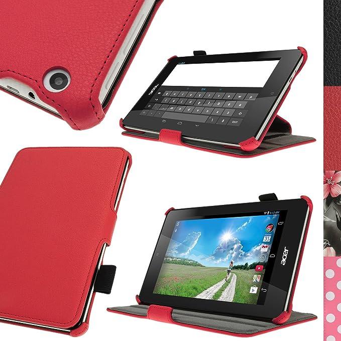 Protector Pantalla igadgitz Rojo Funda PU Cuero para Acer Iconia One 7 B1-730HD con Soporte Multi-Angle Soporte El/ástico por la Pluma Stylus