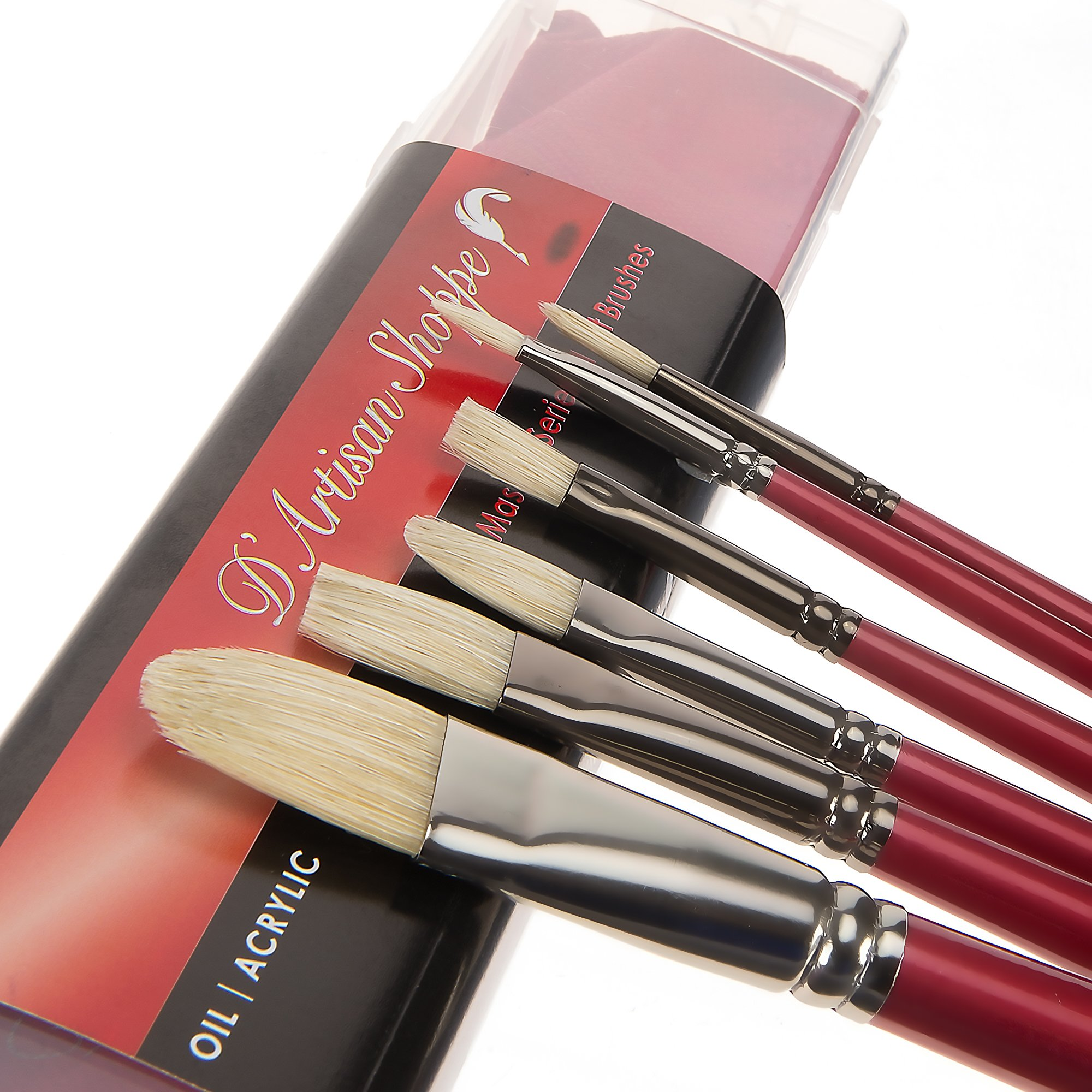 Oil Acrylic Paint Brushes 100% Natural Chungking Hog Hair Bristle in Portable Organizer Plastic Container. 6pc Filbert Flat and Round Paintbrush Set by D'Artisan Shoppe (Image #8)