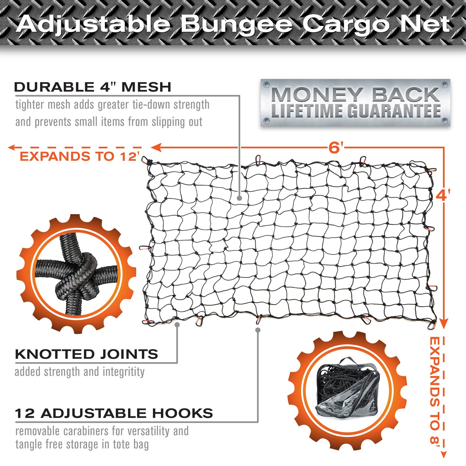 """12 Tangle-Free D Clip Carabiners Small 4/""""x4/"""" Mesh Holds Small and Large Loads Tighter 4x6 Super Duty Bungee Cargo Net for Truck Bed Stretches to 8x12"""