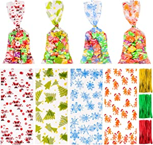Toyvian 200 Pieces Christmas Cellophane Treat Bags,Candy Cookies Goodie Bags with 300 Pieces Twist Ties for Theme Party Supplies,4 Styles