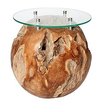 Massiver Couchtisch ROOT Teak Holz Wurzel Beistelltisch Rund Mit Glasplatte Teakholz Massivholz Holztisch Wohnzimmertisch