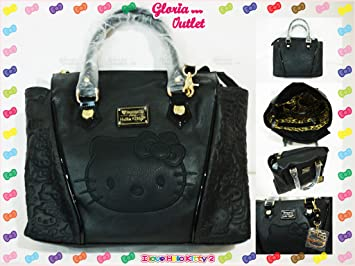 Amazon.com   Hello Kitty Loungefly Black Embossed Face Satchel Fashion Tote  Bag Sanrio SANTB1199   Beauty a5ca3d65aee0f