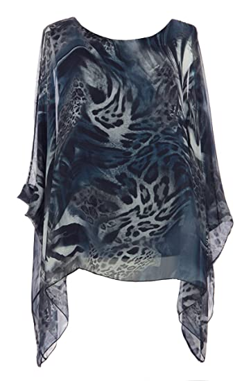 e0510803a58 TEXTURE Ladies Women Italian Lagenlook Leopard Print Silk Flowy Batwing Tunic  Top Blouse One Size (Navy, One Size): Amazon.co.uk: Clothing