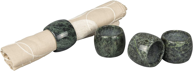 Set of 4 Green Creative Home Genuine Green Marble Stone Napkin Ring Set