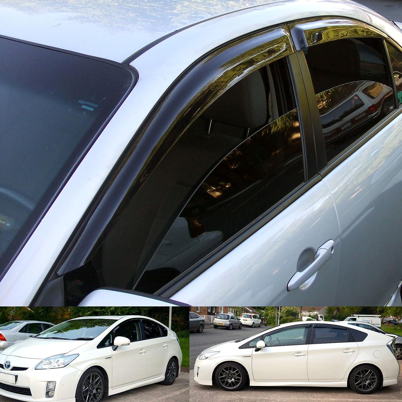 4 Pcs Set Compatible With 2013-2015 BMW X1 Tuningpros WD2-679 Outside Mount Window Visor Deflector Rain Guard Dark Smoke