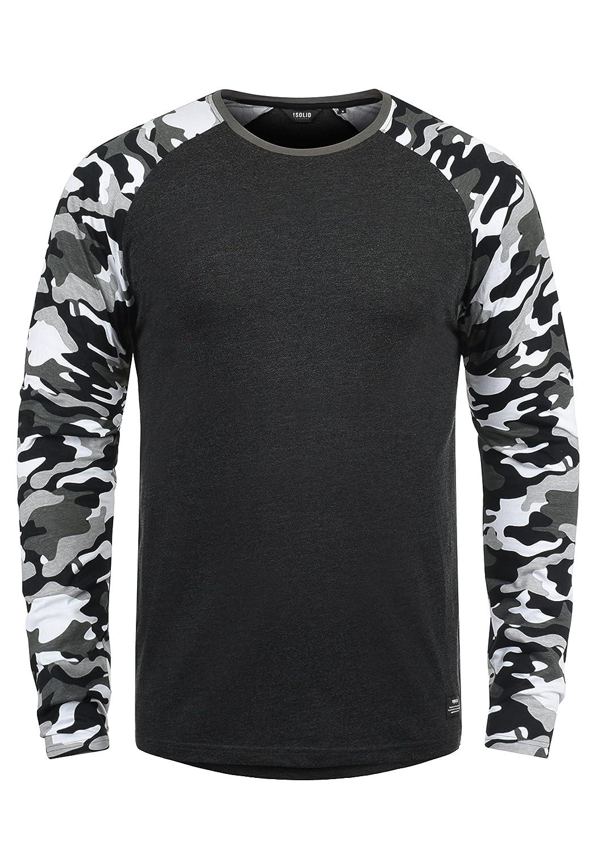 !Solid Cajus Camiseta De Manga Larga Camuflaje Estilo Militar Estampada Longsleeve para Hombre con Cuello Redondo De 100% algodón