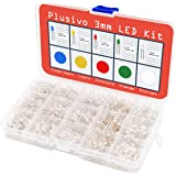 3mm LED Light Emitting Diode with Clear Lens Assortment Kit - Pack of Clear Lens LEDs (1000pcs) - Red, Green, Yellow, Blue and White LED Indicator Lights from Plusivo
