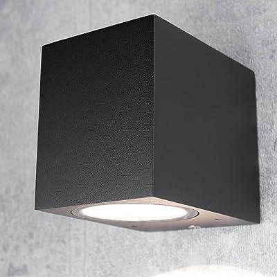 'Applique murale Aalborg Down Spot compacte pour la maison/rectangulaire en noir/IP44GU10/lampe d'extérieur Lampe murale Jardin de la Cour