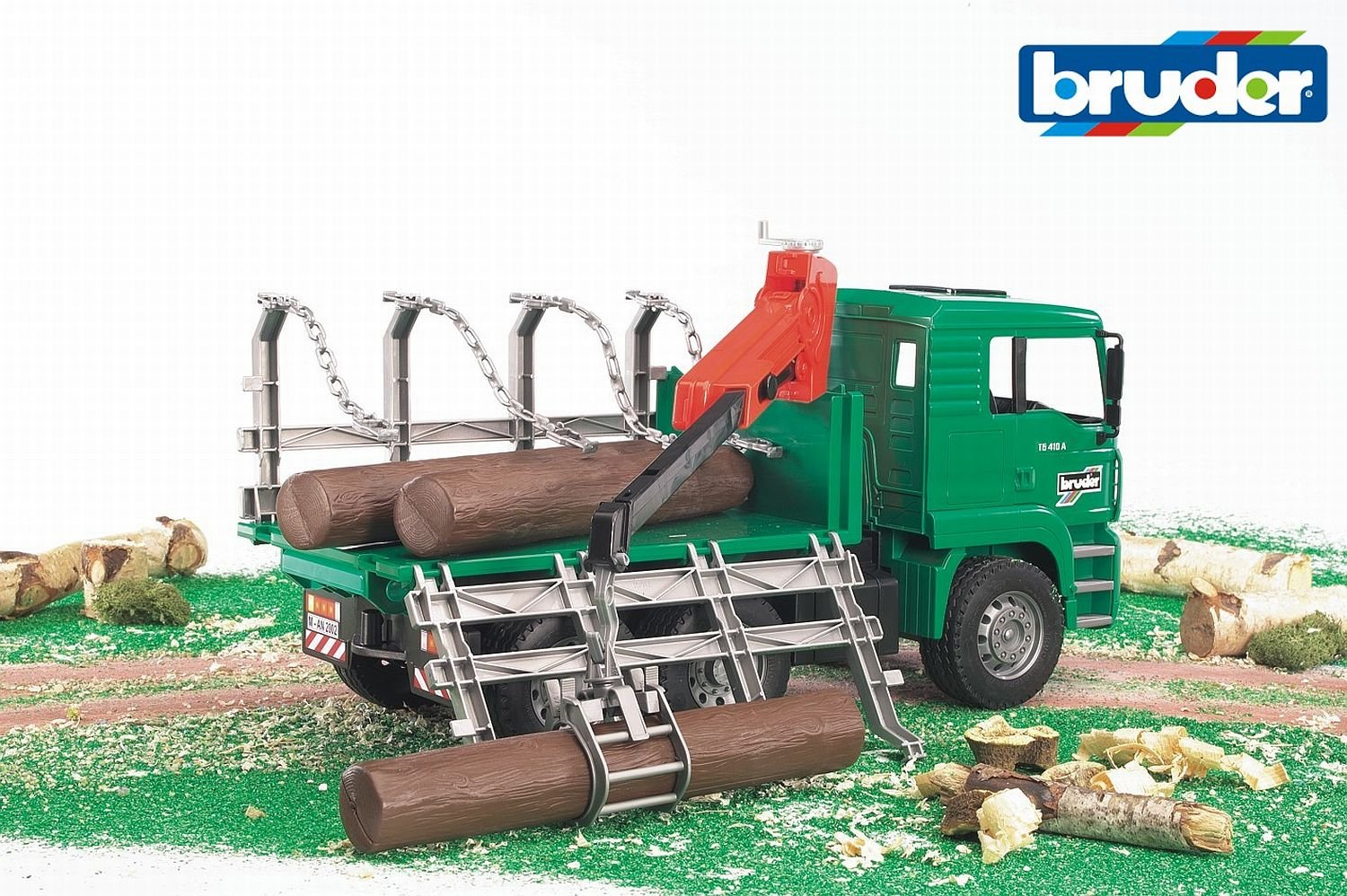 Bruder Man Timber Truck with Loading Crane and 3 Trunks 02769