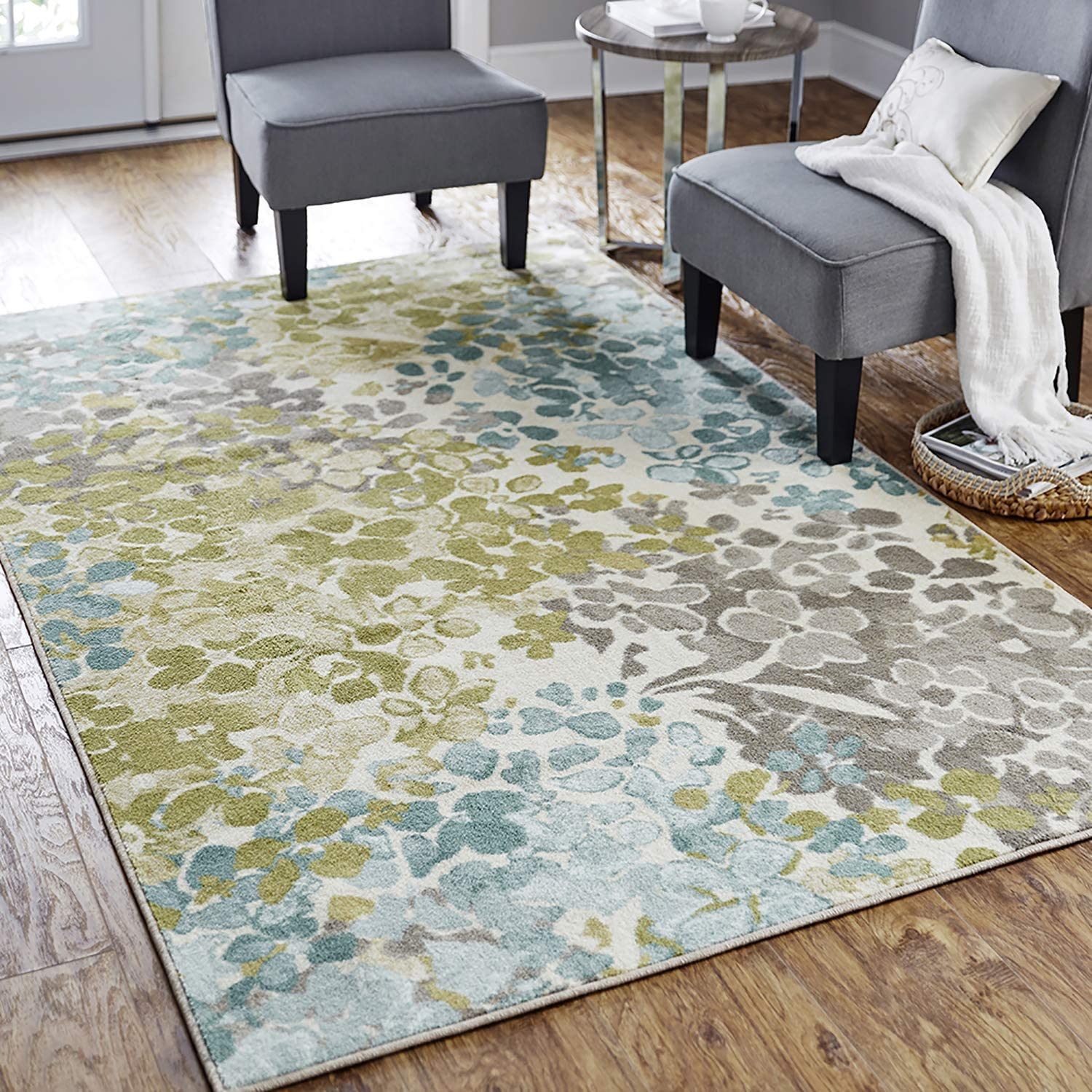 Mohawk Home Aurora Radiance Aqua Abstract Floral Accent Area Rug, 2'6