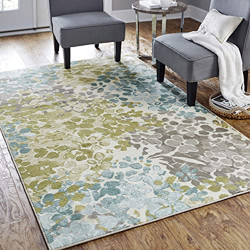 Mohawk Home Aqua Blue Aurora Radiance Abstract Floral Area Rug 10'x14'