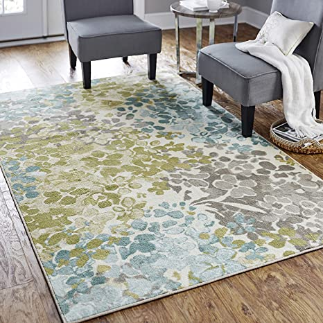 Amazon Com Mohawk Home Aurora Radiance Aqua Abstract Floral Area Rug 7 6 X10 Blue Green Furniture Decor