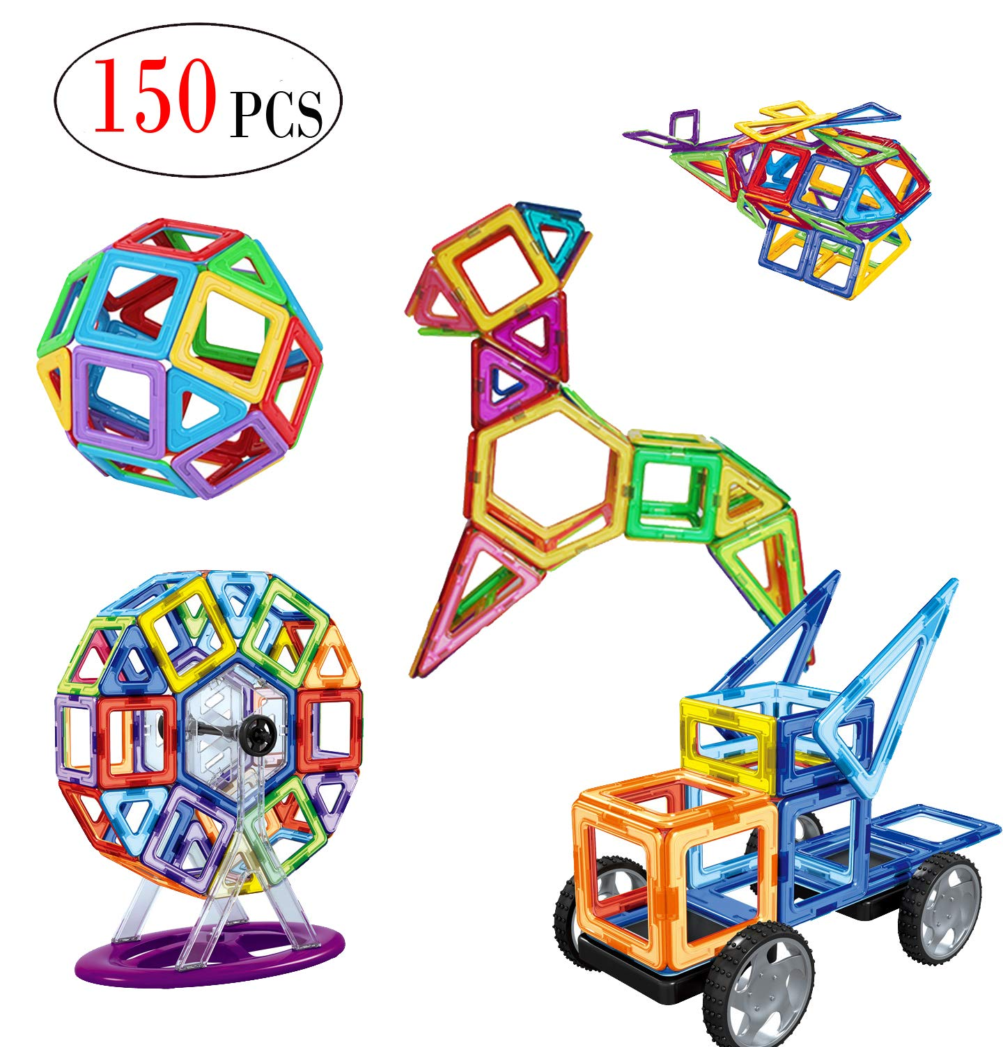 DreambuilderToy Most Complete Magnetic Shapes, Magnetic Tiles, Magnetic Blocks Building Toys Tiles for Kids, Triangles,Squares archs, sectors, semi Circles, Diamonds,Trapezoid etc(150 PC Set)