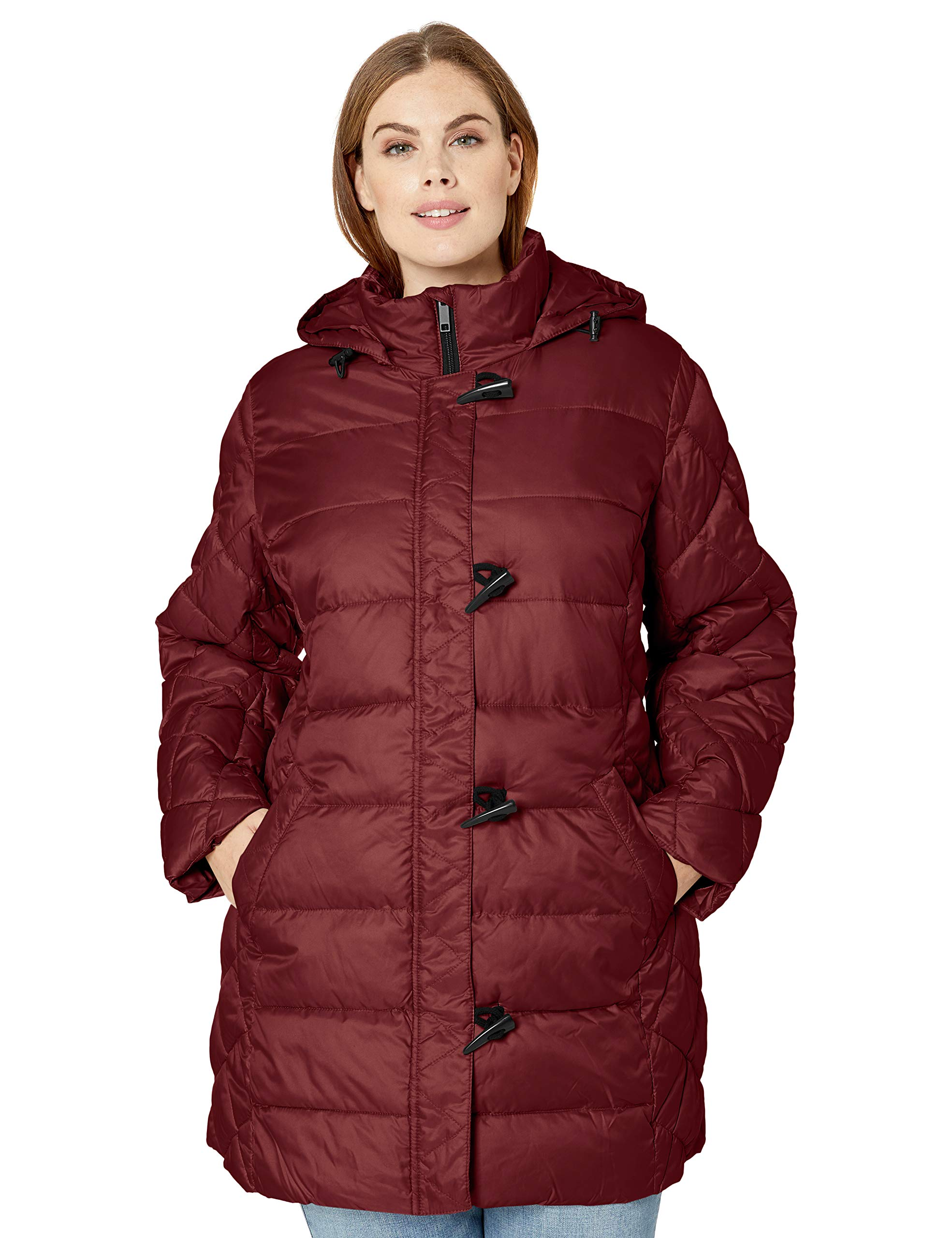 Big Chill Women's Multi-Quilted Puffer Coat with Hood, Burgundy, L by Big Chill