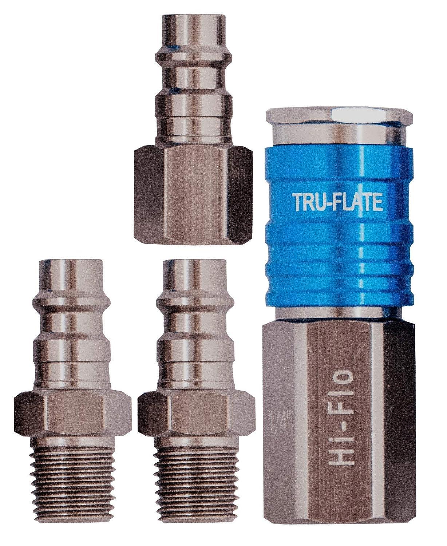 T6 Aluminum HI FLO Plug and Coupler Set Tru-Flate 13-903 1//4 Body 4 Piece
