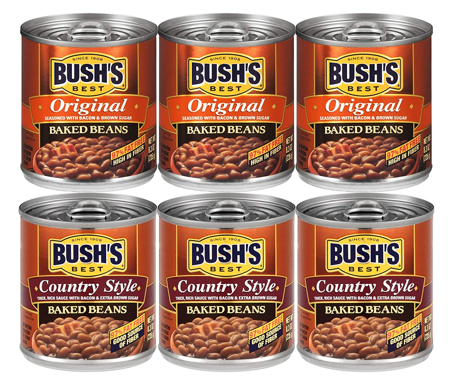 Bush's Best Baked Beans Variety Pack, 3 Original Baked Beans, 3 Country Style, 1 CT
