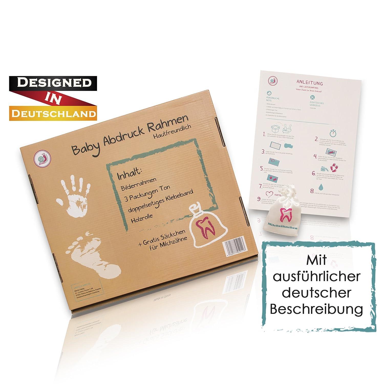 Baby Bilderrahmen Set mit Name für Handabdruck & Fußabdruck mit ...