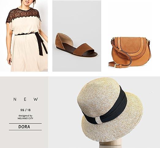 Amazon.com: melniko City Mujer Paja Sombrero de verano ...