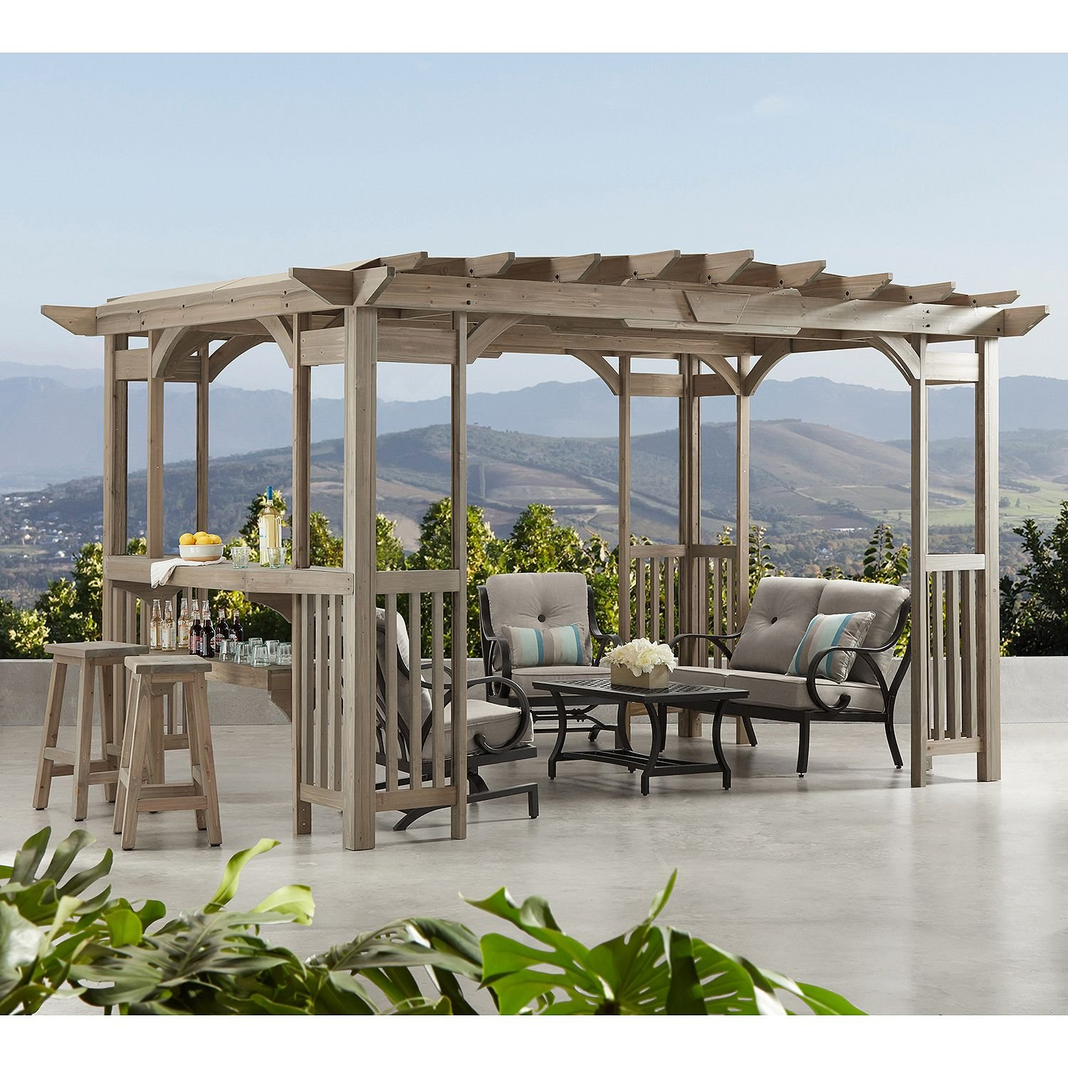 Cedar Pergola Gazebo with Bar Counter and Sunshade in Timber Gray Stain 12' x 8'