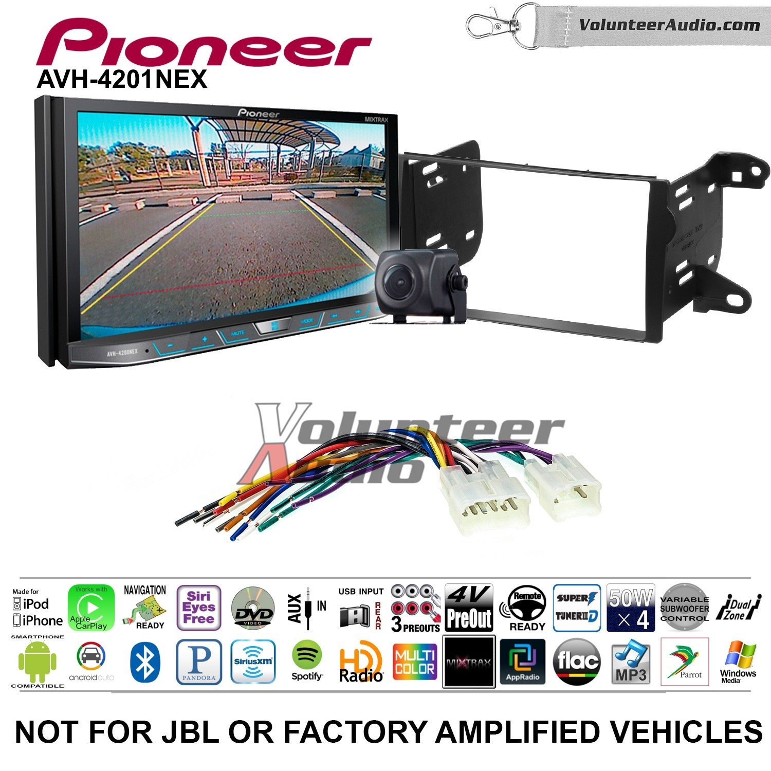 Pioneer AVH-4201NEX Double Din Radio Install Kit with Apple Carplay Android Auto Bluetooth Fits 2011-2013 Non Amplified Toyota Matrix