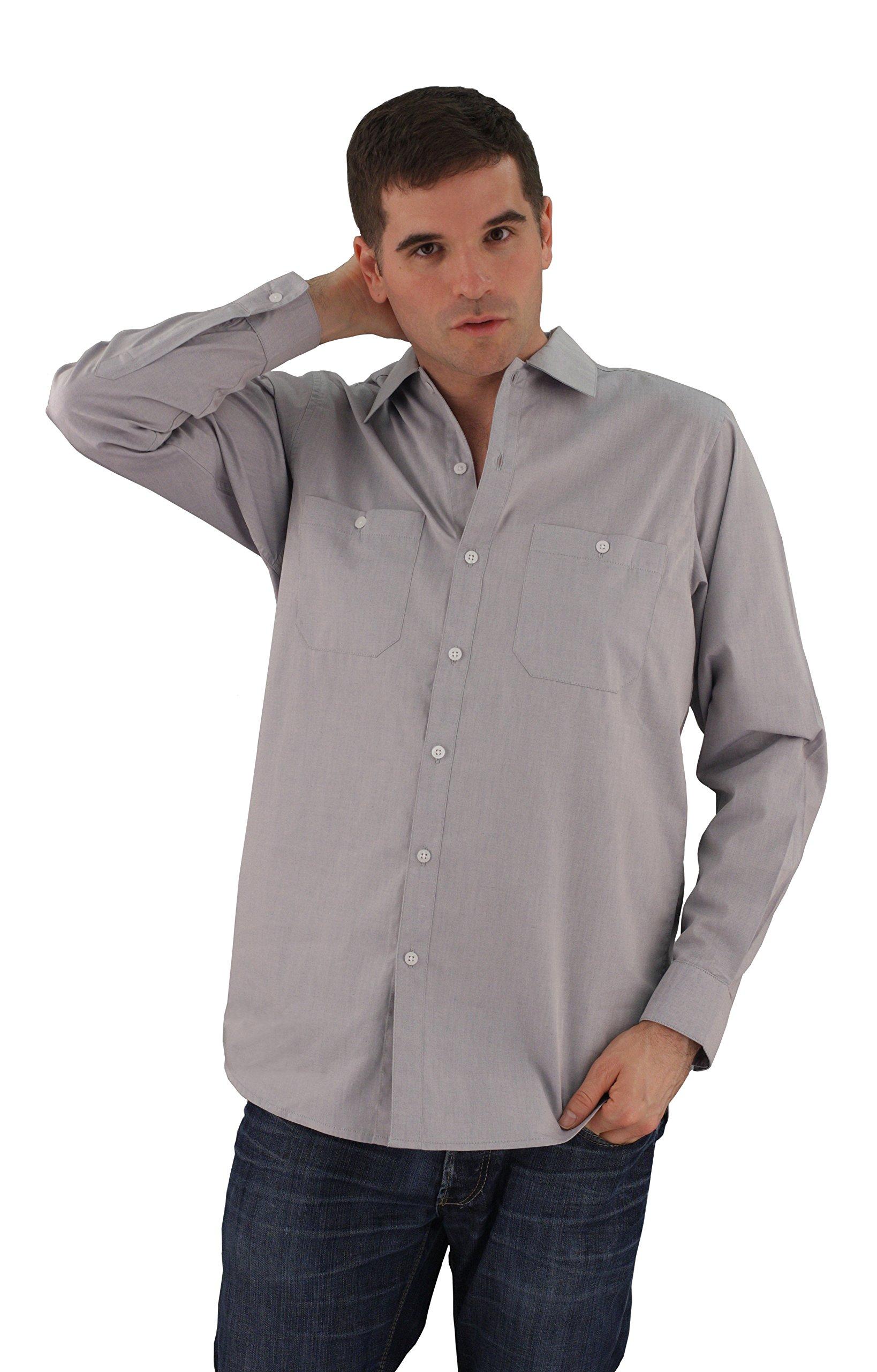 ASD Living Oxford Long Sleeve Server Waitstaff Shirt, Extra Large, Pepper