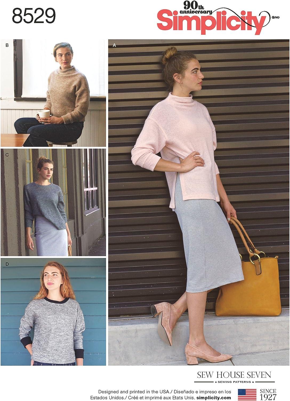 Sizes XXS-XXL Multi Simplicity 8738 Misses Knit Mini Dress Tunic or Top A