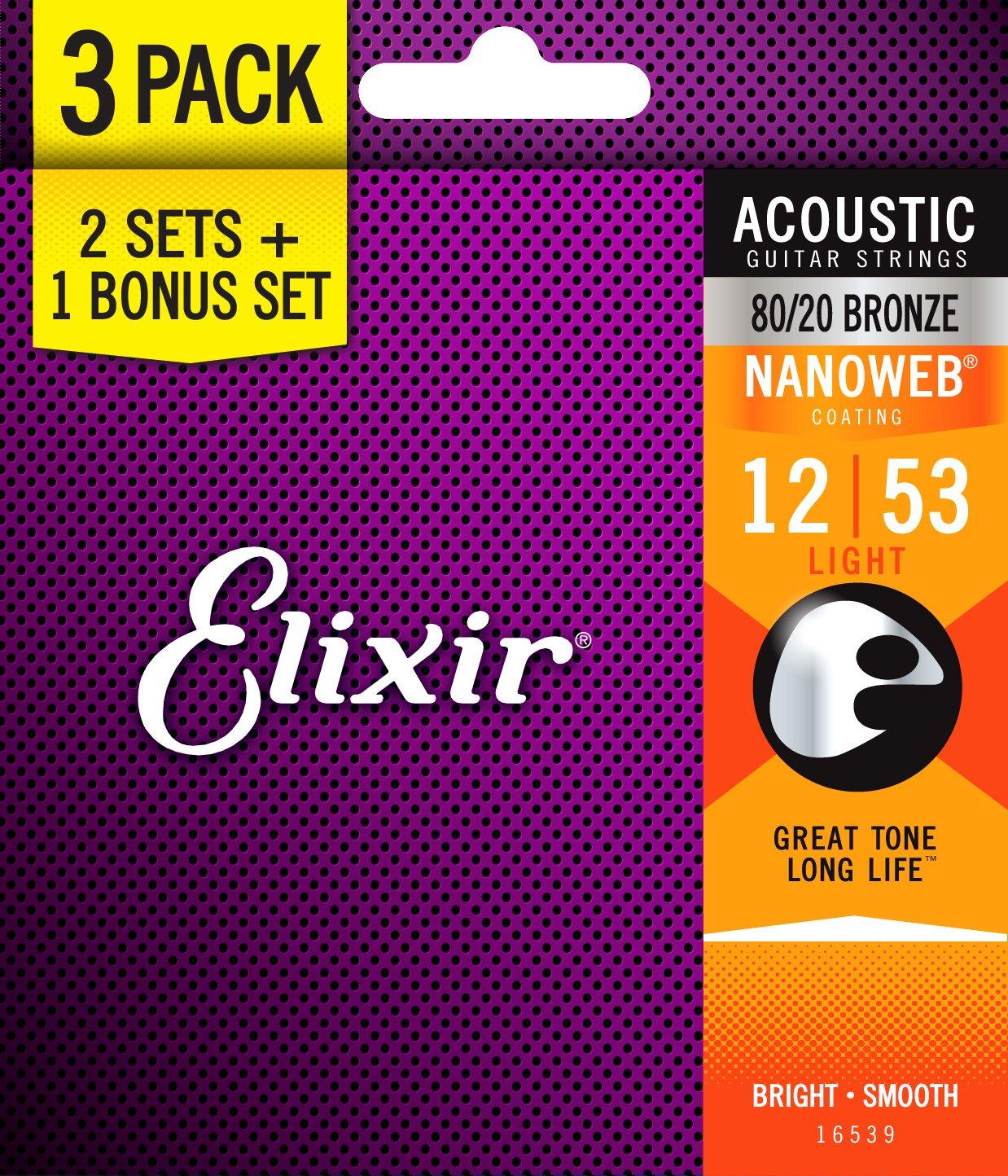 Elixir Strings 16539 Light 80/20 Bronze Nanoweb Acoustic Guitar Strings 3-Pack (.012.053)