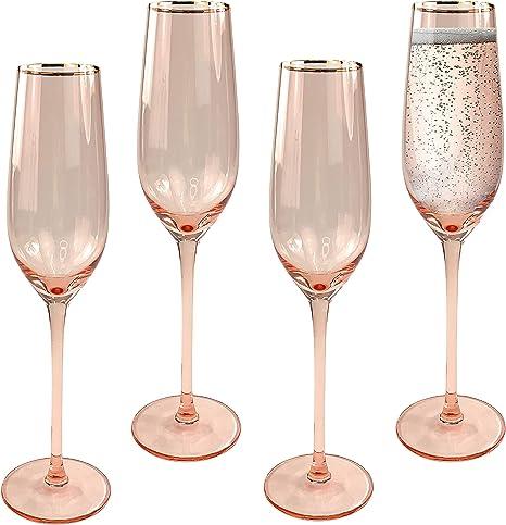 Copas de champán, juego de 4 unidades, modernas copas de cristal y copas de flauta para tostar, vajilla de primera calidad y cristalería para bodas, aniversarios, vacaciones y fiestas: Amazon.es: Hogar
