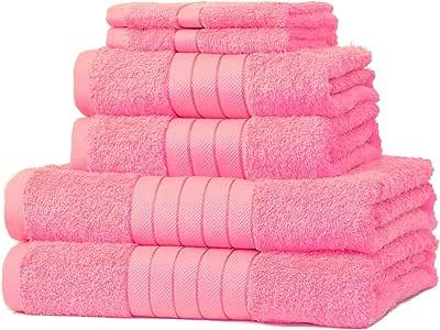 Dreamscene - Juego de 6 Toallas de Mano de algodón Egipcio 100%, Color Rosa: Amazon.es: Hogar