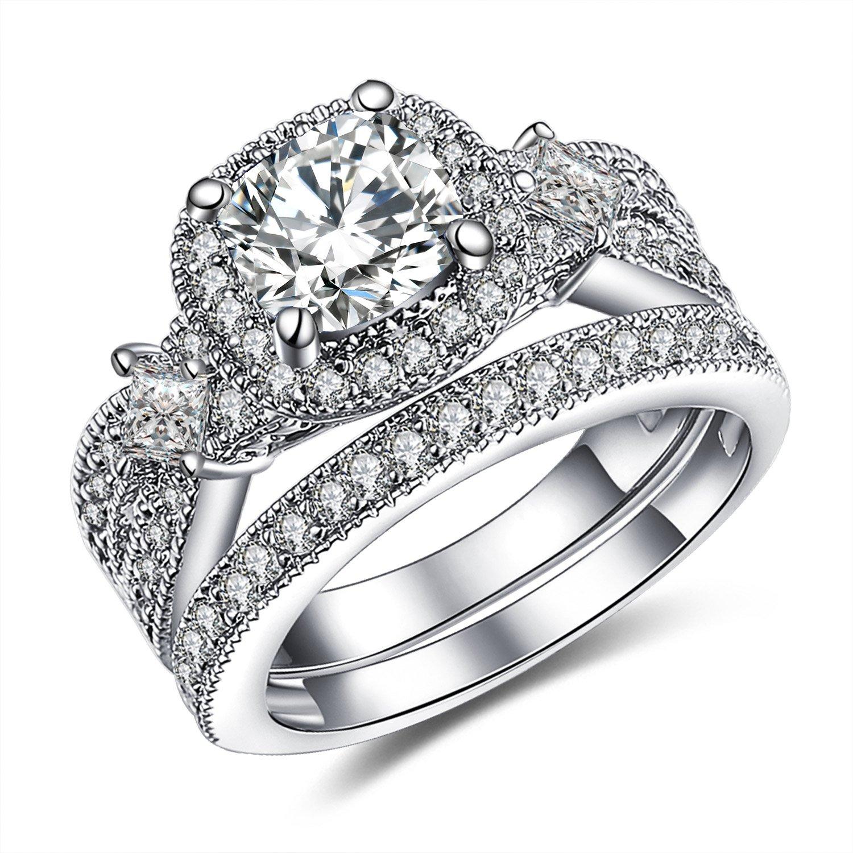 GuqiGuli 925 Solid Sterling Silver Princess and Cushion Cut Cubic Zirconia Bridal Wedding Band Engagement Ring Sets Size 8