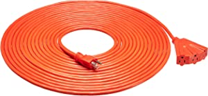 AmazonBasics 12/3 Outdoor Extension Cord with 3 Outlets, Orange, 50 Foot