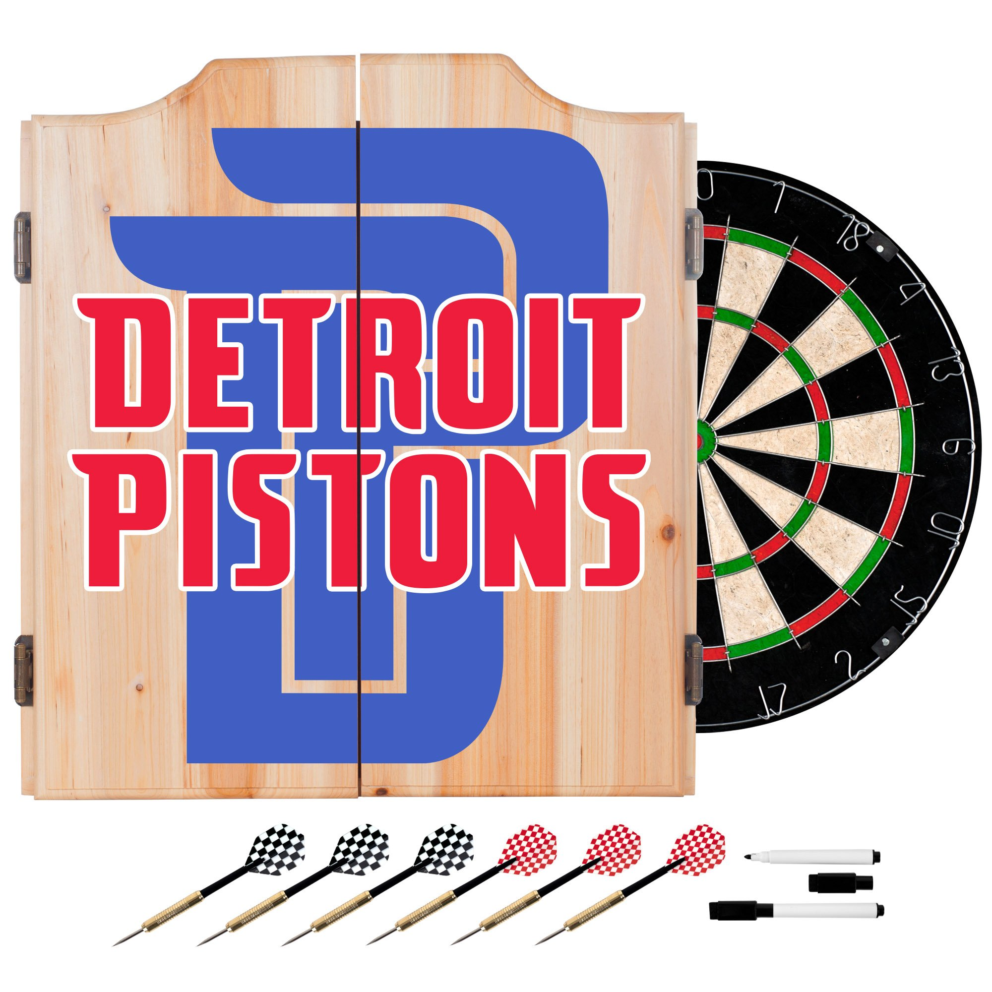 Trademark Gameroom NBA7010-DP2 NBA Dart Cabinet Set with Darts & Board - Fade - Detroit Pistons by Trademark Global