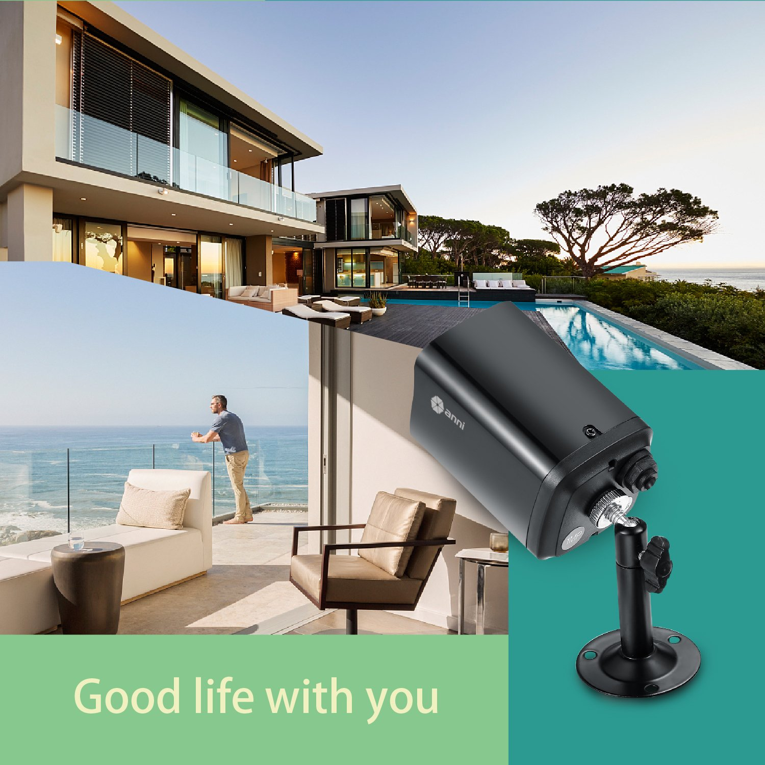 anni 4CH DVR 1080N Video Security System 4PCS 1500TVL Weatherproof Outdoor Cameras Surveillance Kit, Free iOS Android APP, Motion Detection Email Alert, IR Night Vision 65FT -No Hard Drive by ELEC (Image #6)