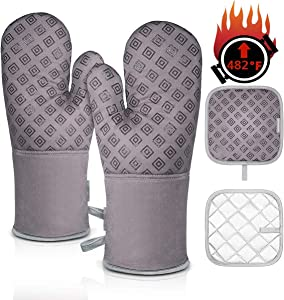 Homemaxs Oven Mitts and Pot Holders 4pcs Set Heat Resistant up to 482F/250°C Non-Slip Food Grade Kitchen Mitten Silicone Cooking Gloves s for Kitchen, Cooking, Baking, BBQ (Gray)