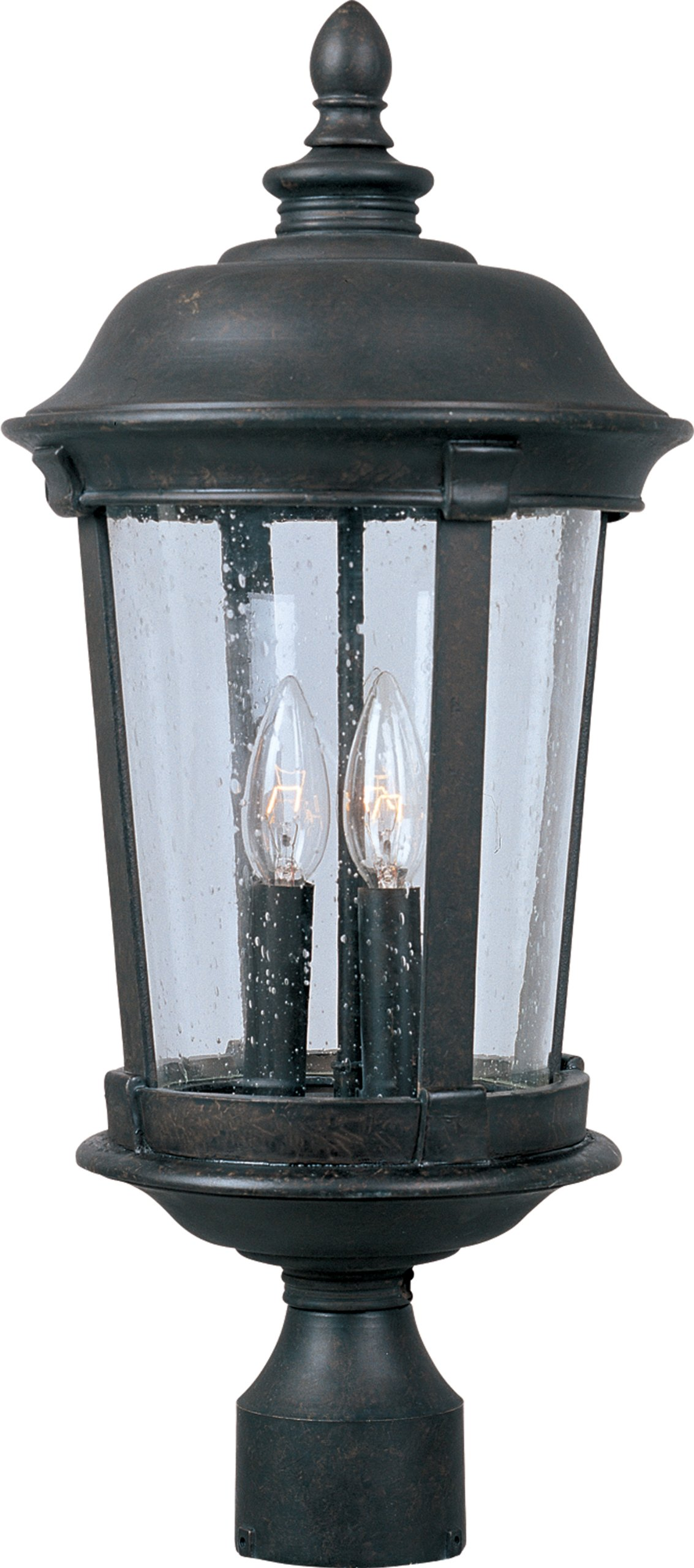 Maxim 40092CDBZ Dover VX 3-Light Outdoor Pole/Post Lantern, Bronze Finish, Seedy Glass, CA Incandescent Incandescent Bulb , 40W Max., Dry Safety Rating, Fabric Shade Material, Rated Lumens