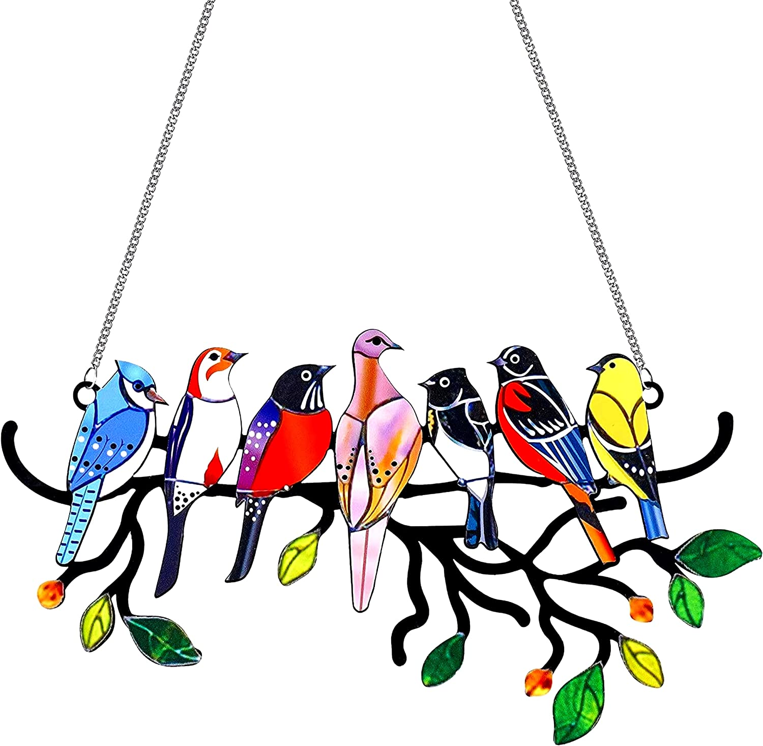 WENWELL Stained Metal Bird Glass Window Hangings,Cardinal Suncatcher Home Ornaments Decorations,Multicolor Birds on Branches Sculptures Pendant for Patio Yard Decor,Gifts for Bird Lovers
