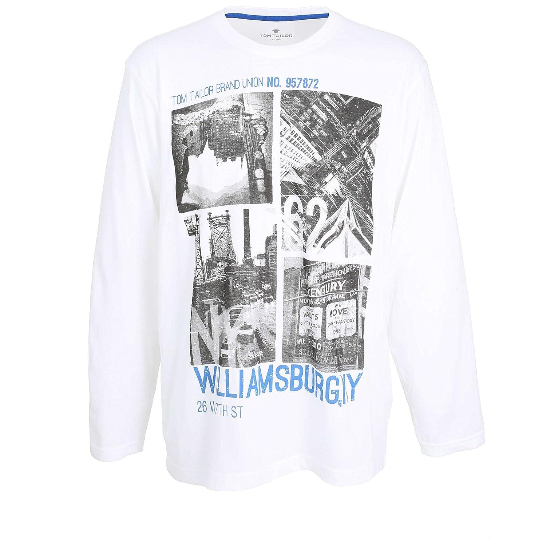 TOM TAILOR Herren Shirt, Langarm, Baumwolle, Single Jersey, Weiß, Bedruckt Weiß