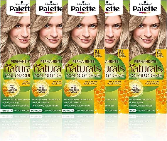 Schwarzkopf Palette Naturals Color Creme - Tono 8.1 cabello Rubio Claro Helado (Pack de 5) - Coloración Permanente – Perfecta cobertura de canas – ...