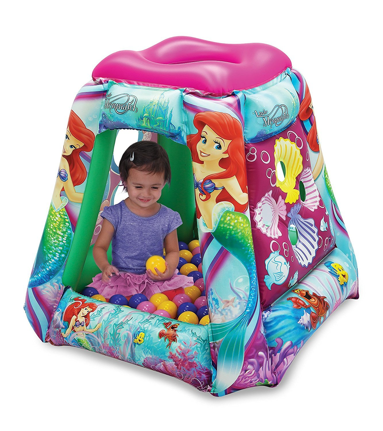 The Little Mermaid 2 Pearl of The Sea Ball Pit, 1 Inflatable & 20 Sof-Flex Balls, Pink/Blue, 37''W x 37''D x 34''H by The Little Mermaid