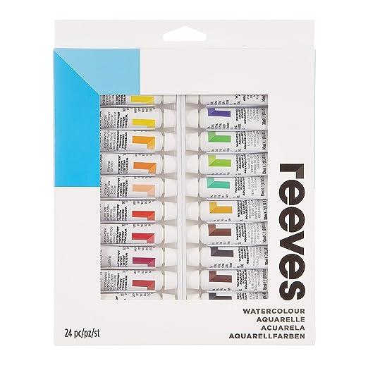 10944c71e Reeves - Set de 24 tubos de acuarela, 10 ml: Amazon.es: Oficina y papelería